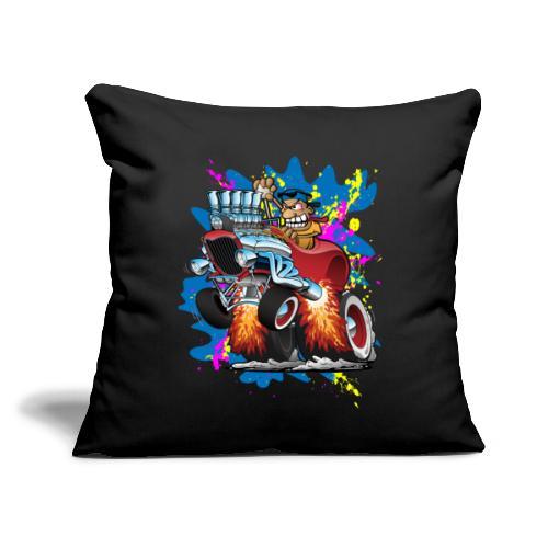 "Funny Hot Rod Car Cartoon - Throw Pillow Cover 17.5"" x 17.5"""