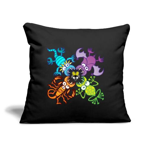 """Bat, lizard, scorpion and frog stalking a poor fly - Throw Pillow Cover 17.5"""" x 17.5"""""""