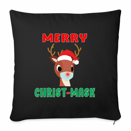 "Merry Christmask Rudolph Red Nose Mask Reindeer. - Throw Pillow Cover 17.5"" x 17.5"""