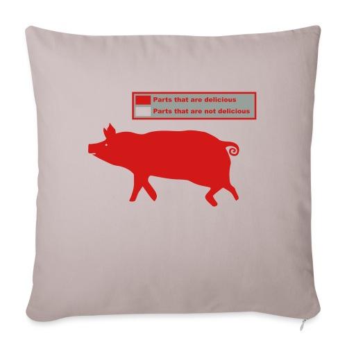 "Bacon Pig Pork BBQ - Throw Pillow Cover 17.5"" x 17.5"""