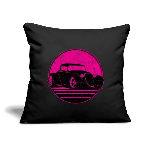 "Retro Hot Pink Hot Rod Grungy Sunset Illustration - Throw Pillow Cover 17.5"" x 17.5"""