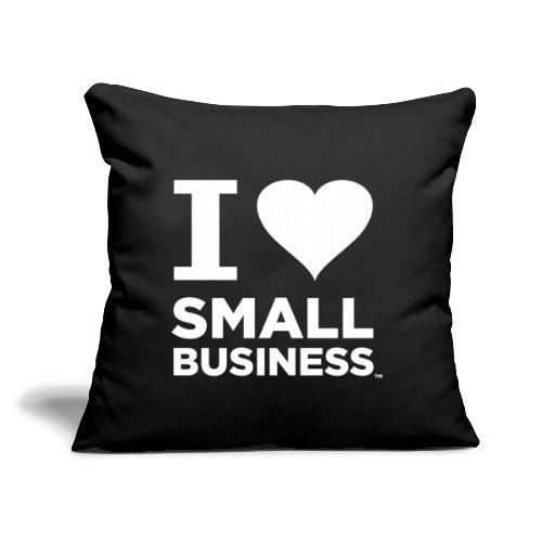 """I Heart Small Business Logo (All White) - Throw Pillow Cover 17.5"""" x 17.5"""""""