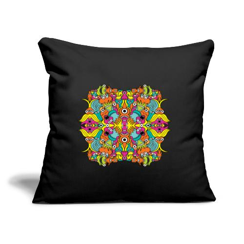 """Aquatic monsters in a pattern in doodle art style - Throw Pillow Cover 17.5"""" x 17.5"""""""