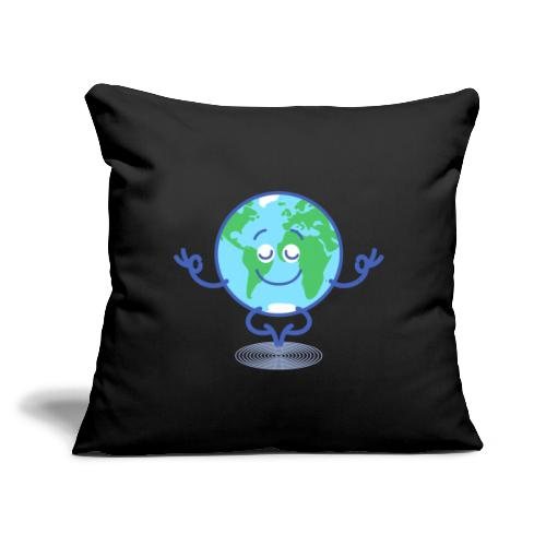 """Planet Earth meditating and smiling - Throw Pillow Cover 18"""" x 18"""""""
