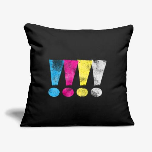 """Distressed CMYK(W) Graphic Exclamation Points - Throw Pillow Cover 17.5"""" x 17.5"""""""