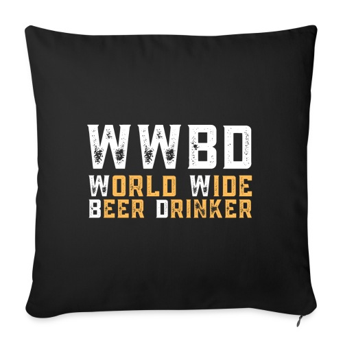 """WWBD (World Wide Beer Drinker) - White and Yellow - Throw Pillow Cover 17.5"""" x 17.5"""""""