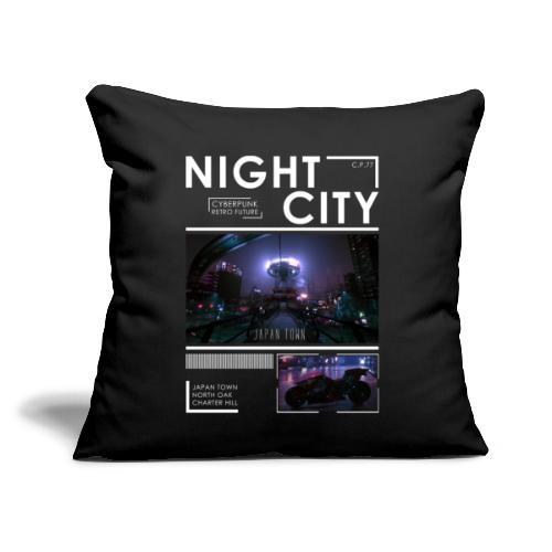 "Night City Japan Town - Throw Pillow Cover 17.5"" x 17.5"""