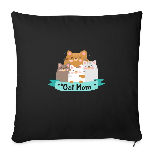 """Cat MOM, Cat Mother, Cat Mum, Mother's Day - Throw Pillow Cover 18"""" x 18"""""""