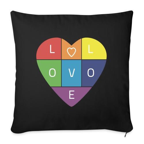 """Rainbow Heart - Throw Pillow Cover 17.5"""" x 17.5"""""""