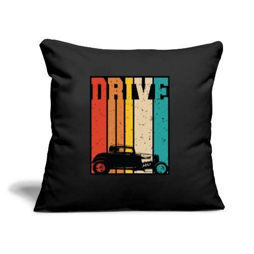 """Drive Retro Hot Rod Car Lovers Illustration - Throw Pillow Cover 17.5"""" x 17.5"""""""
