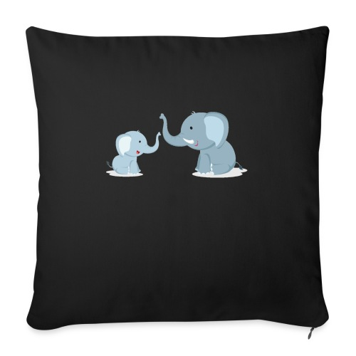 """Father and Baby Son Elephant - Throw Pillow Cover 17.5"""" x 17.5"""""""