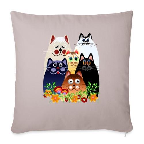 """GARDEN CLOWDER of CATS - Throw Pillow Cover 17.5"""" x 17.5"""""""
