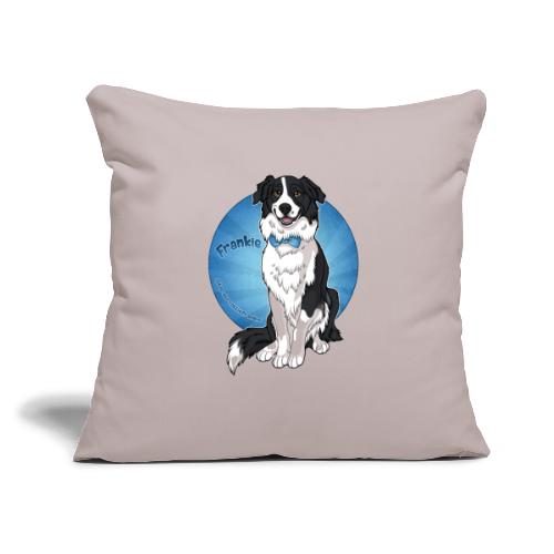 "Border Collie Frankie Full Colour With Name - Throw Pillow Cover 17.5"" x 17.5"""