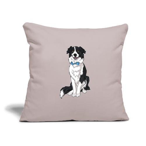 "Border Collie Frankie - Transparent Background - Throw Pillow Cover 17.5"" x 17.5"""