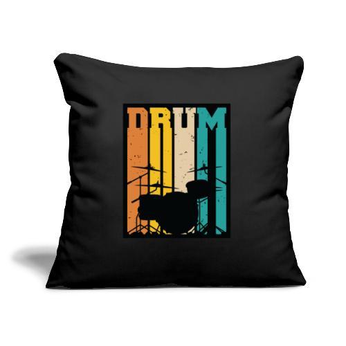 "Retro Drum Set Silhouette Illustration - Throw Pillow Cover 17.5"" x 17.5"""