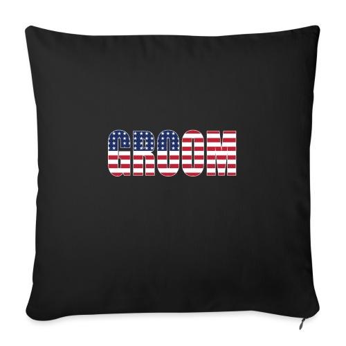 "Groom US Flag - Throw Pillow Cover 18"" x 18"""