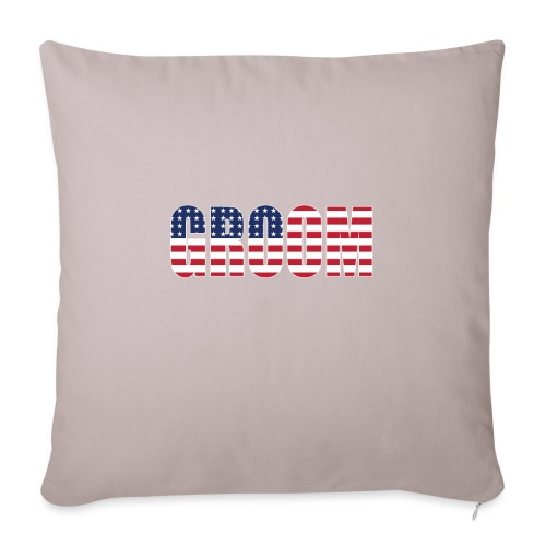 "Groom US Flag - Throw Pillow Cover 17.5"" x 17.5"""