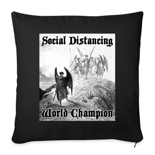 "Social Distancing World Champion - Throw Pillow Cover 17.5"" x 17.5"""