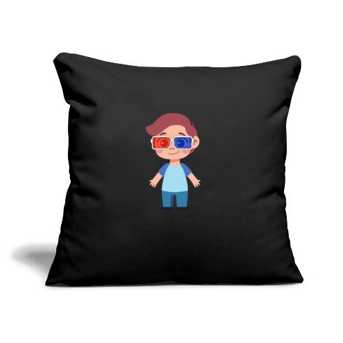 "Boy with eye 3D glasses - Throw Pillow Cover 17.5"" x 17.5"""