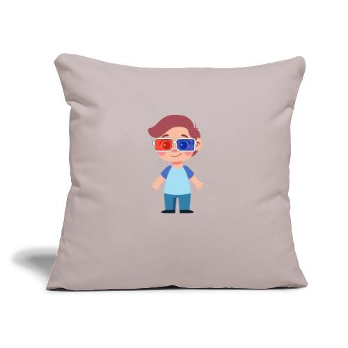 """Boy with eye 3D glasses - Throw Pillow Cover 17.5"""" x 17.5"""""""