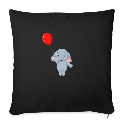 """Baby Elephant Holding A Balloon - Throw Pillow Cover 17.5"""" x 17.5"""""""