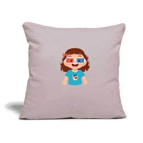"""Girl red blue 3D glasses doing Vision Therapy - Throw Pillow Cover 17.5"""" x 17.5"""""""