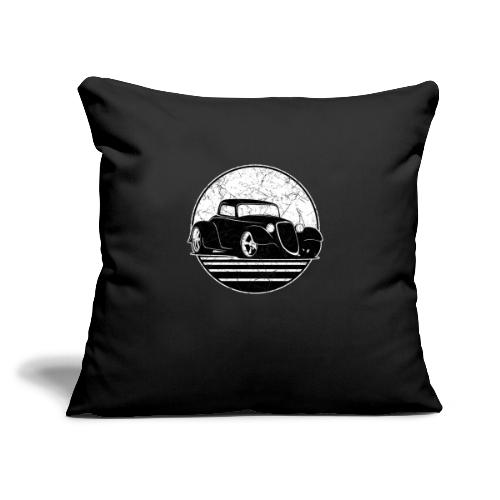 "Retro Hot Rod Grungy Sunset Illustration - Throw Pillow Cover 17.5"" x 17.5"""