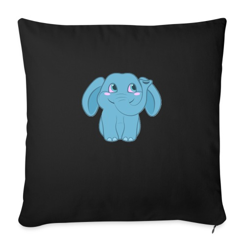 """Baby Elephant Happy and Smiling - Throw Pillow Cover 17.5"""" x 17.5"""""""
