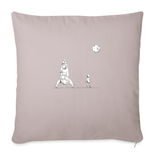 "rocket to the moon - Throw Pillow Cover 18"" x 18"""