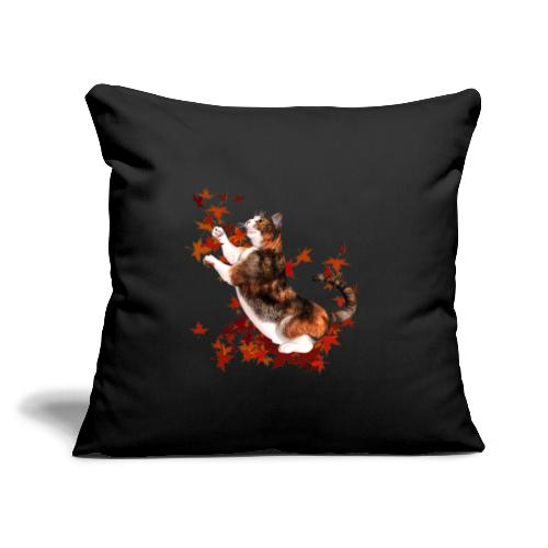 """Autumn Cat - cat playing with autumn leaves - Throw Pillow Cover 17.5"""" x 17.5"""""""