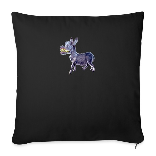 """Funny Keep Smiling Donkey - Throw Pillow Cover 17.5"""" x 17.5"""""""
