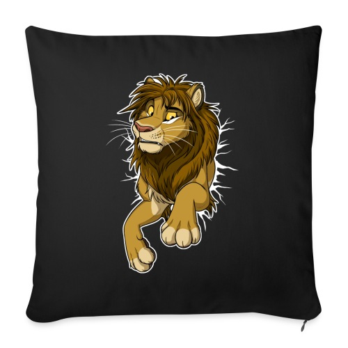 "STUCK Lion (white cracks) - Throw Pillow Cover 17.5"" x 17.5"""