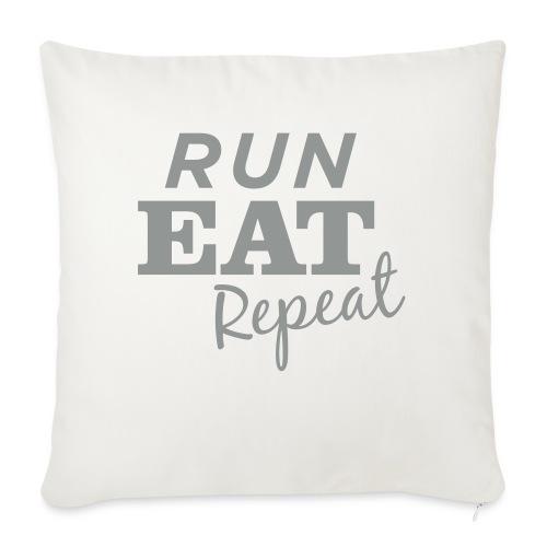 "Run Eat Repeat buttons medium - Throw Pillow Cover 18"" x 18"""
