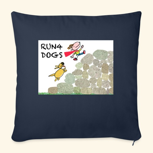 """Dog chasing kid - Throw Pillow Cover 17.5"""" x 17.5"""""""