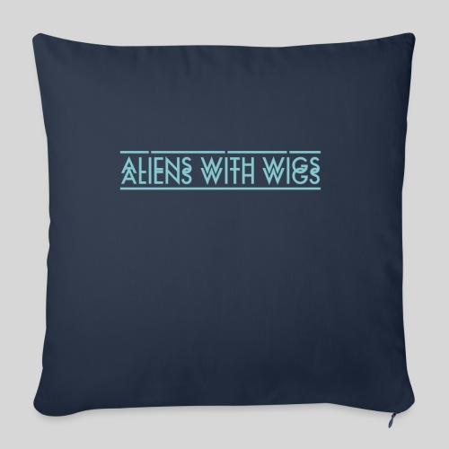 """AliensWithWigs-Logo-Bleu - Throw Pillow Cover 17.5"""" x 17.5"""""""