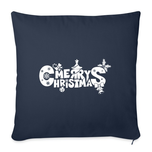 "Merry Christmas blanco - Throw Pillow Cover 18"" x 18"""
