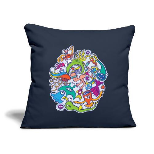 """Summer swimming with weird dangerous sea creatures - Throw Pillow Cover 17.5"""" x 17.5"""""""