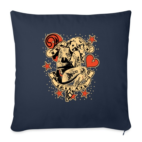 """Screwed & tattooed Pin Up Zombie - Throw Pillow Cover 18"""" x 18"""""""