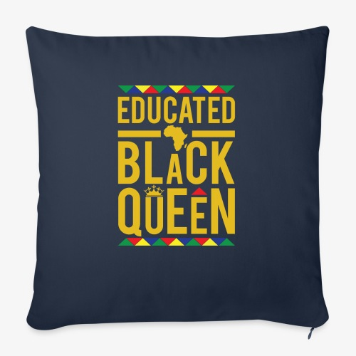 "Educated Black Queen - Throw Pillow Cover 17.5"" x 17.5"""