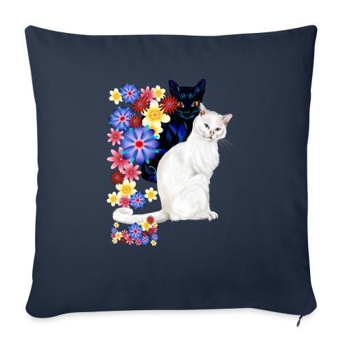 "Black and White Garden Kitties.. - Throw Pillow Cover 17.5"" x 17.5"""