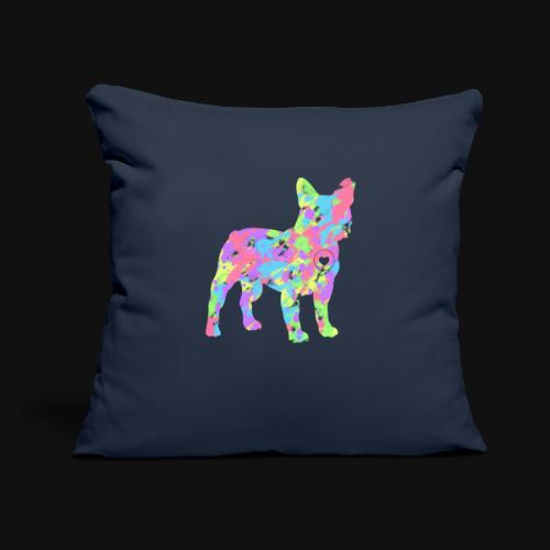 "Frenchie love splatter - Throw Pillow Cover 18"" x 18"""