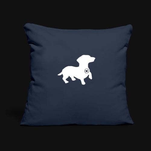 "Dachshund silhouette white - Throw Pillow Cover 17.5"" x 17.5"""
