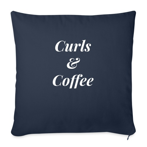 "curls and coffee - Throw Pillow Cover 17.5"" x 17.5"""