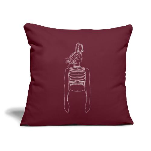 """Hipster Rabbit White - Throw Pillow Cover 17.5"""" x 17.5"""""""