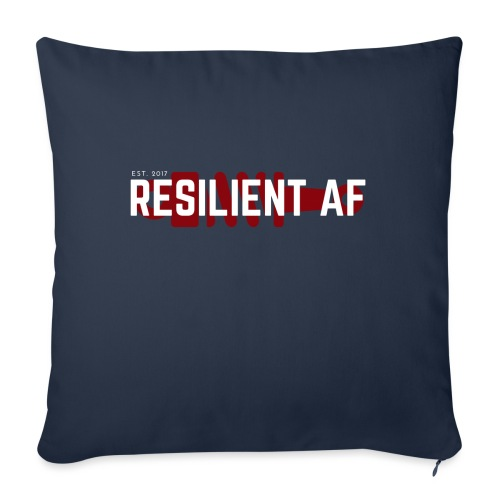 "RESILIENT WHITE with red - Throw Pillow Cover 18"" x 18"""