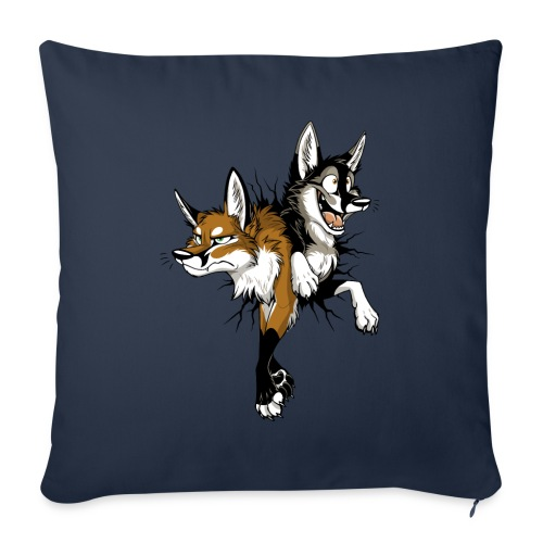 """STUCK Foxes (double-sided) - Throw Pillow Cover 17.5"""" x 17.5"""""""