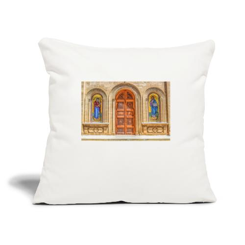 Mary and Joseph Icons on a Church wall - Throw Pillow Cover