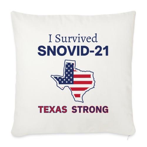 "I Survived SNOVID-21 Texas Strong (Texas Map) - Throw Pillow Cover 17.5"" x 17.5"""