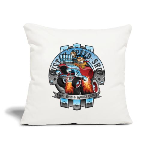 "Custom Speed Shop Hot Rods and Muscle Cars Illustr - Throw Pillow Cover 18"" x 18"""