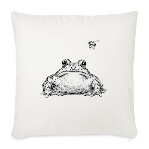 "Frog with Fly by Imoya Design - Throw Pillow Cover 18"" x 18"""